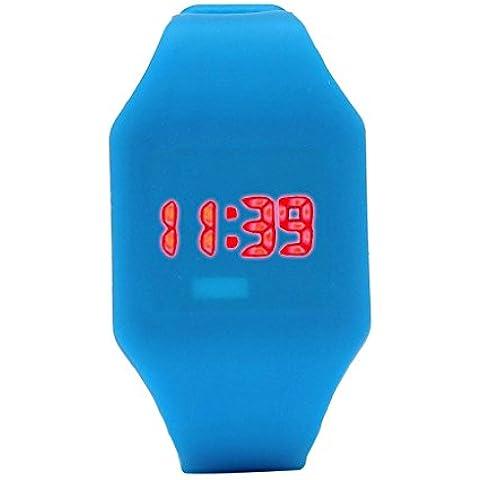 ZARU LED reloj digital unisex de silicona pulsera de los deportes BU