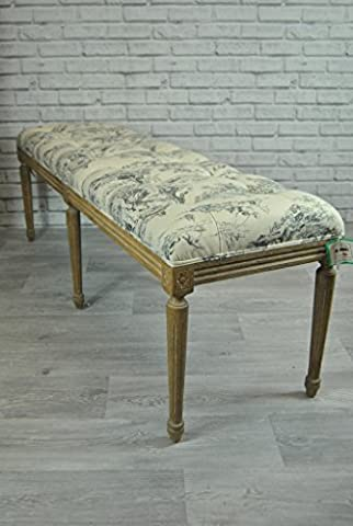 French style Upholstered window seat bench otterman End of Bed studded - washed wood legs - Mason De Toile
