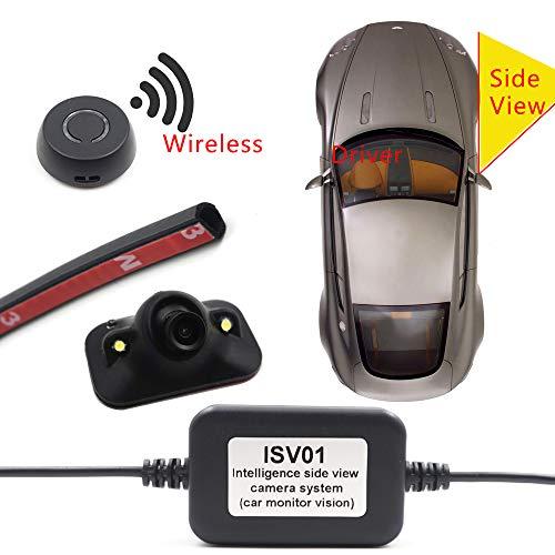ZHY Blinde Zone-Kamera der Auto-Seitenansicht, drahtloser Knopf-Schalter-wasserdichtes HD-Nachtsicht Einfach, für alle Modelle der Seitenansicht-Kamera anzubringen und anzuschließen