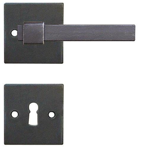 Drückergarnitur Türbeschlag Antik eckig schwarz Schmiedeeisen Tügriff für Zimmertüren - Modell LINZ | WC - Badezimmer | Türdrücker für Türstärke 38-45 mm | Baubeschläge von GedoTec®