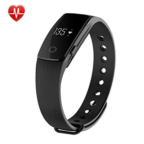 Willful Fitness Bracelet avec moniteur de fréquence cardiaque - Bluetooth montre-bracelet Activité Tracker montre podomètre avec fréquence cardiaque Schlafanalyse compteur de calories vibrant appel d'alarme SMS SNS vibrations pour Android iOS