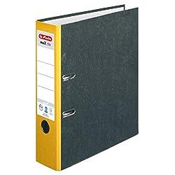 Herlitz Ordner maX.file nature, Pappe, Wolkenmarmorbezug, Kantenschutz, standfest, A4 8 cm, gelb