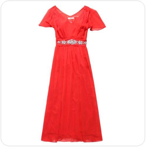 PLAER femmes Cocktail robe de bal du soir Lotus manches Longue robe de mariage Orange