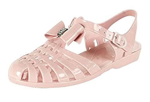 Ladies Jelly Shoes Festival Strappy Diamante Fisherman Style Gladiator Sandals (UK 7, NUDE)