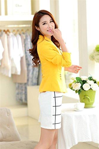Laozan Blazer Veste Tailleur Femme Costume Loisir Single Bouton Coupe Ajustée Blouse Jaune