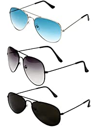 Y&S Aviator Unisex Combo Of Sunglasses(Blackblack-Halfblack-Silverblue)