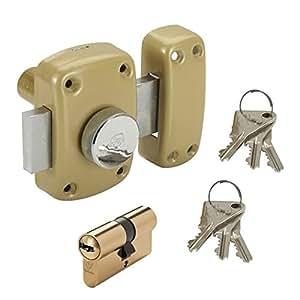 Vachette - Verrou de porte a bouton + cylindre avec 6 cles uniques Cyclop