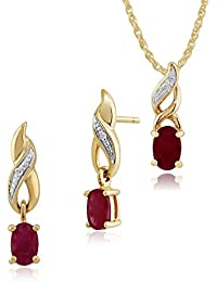 Gemondo 9ct Yellow Gold Sapphire & Diamond Classic Oval Drop Earrings & 45cm Necklace Set iDPbzXK8kC