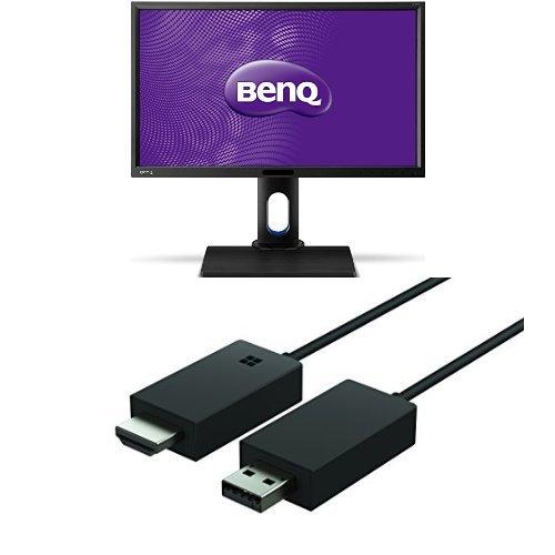 Set aus BenQ BL2420PT (23.8 Zoll) Monitor (VGA, DVI, HDMI, USB, 5ms Reaktionszeit, Höhenverstellbar, Pivot, Lautsprecher) schwarz + Microsoft Wireless Display Adapter -
