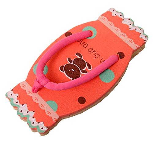 CHENGYANG Donna Caramella Forma Infradito Pantofole Cartone Animato Spiaggia Flip Flop Rosso#1