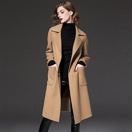 SED Cappotto da Donna-Modelli Invernali di Cappotto di Lana di Abbigliamento da Donna di Grandi Dimensioni nella Lunga Giacca del Cappotto,Cammello,L