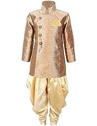 JBN Creation Boys Cotton Silk Sherwani Suit With Patiala Style Cowl Dhoti Pant (Gold_VASBSW121GO)