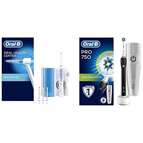 Oral-b waterjet sistema pulente con idropulsore + oral-b pro 750 crossaction spazzolino elettrico ricaricabile, bonus pack