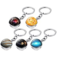 TOYANDONA Galaxy Keychain Solar System Keyring Planet Key Rings Bag Hanging Pendant Ornament for Space Party Favor Lover Souvenir Gift 5pcs (Mixed Pattern)