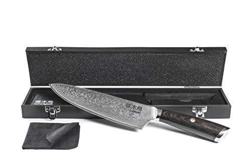 Damastmesser - japanisches Küchenmesser aus Damaststahl mit 67 Lagen, 20 cm VG-10 Klinge, Kochmesser aus Damaszenerstahl in Holzbox