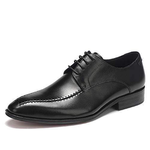 GanSouy Herren Schwarzes Leder Schnürschuhe Hochzeit Formelle Kleidung Oxfords Braun Business und Alltagskleidung Büro Low-Top Derby Schuhe,B- 6 UK / 40 EU -
