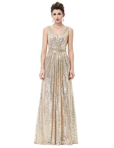 paillettenkleid lang ärmelloses kleid a linie brautkleid gold langes kleid Größe 34 KK0199-1