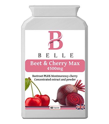 Belle® Beet & Cherry Max 4500mg - Montmorency, ciliegia e barbabietola con vitamina B6, estratto di pepe nero e curcuma - Migliora il metabolismo, l'immunità, la formazione di globuli rossi, il sistema nervoso, l'attività ormonale, la proteina e il metabolismo del glicogeno - Adatto a vegetariani e vegani - 60 capsule