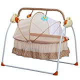 BTdahong Elektrische Baby Wiege Automatische Babyschaukel Babyschale Platz Safe Babywippe Vibration Melodie Fernsteuerung, Musik + Matte + Moskitonetze, Khaki