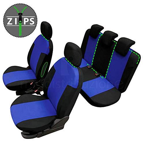 rmg-distribuzione Coprisedili per Duster Versione (2018 - in Poi) compatibili con sedili con airbag, bracciolo Laterale, sedili Posteriori sdoppiabili Colore Nero Blu R05S0146