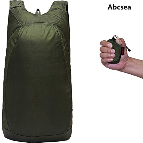 Abcsea 1 Pieza Verde Mochila Plegable Ultraligera 20L, Mochila de Viaje Plegable Impermeable, Mochila...