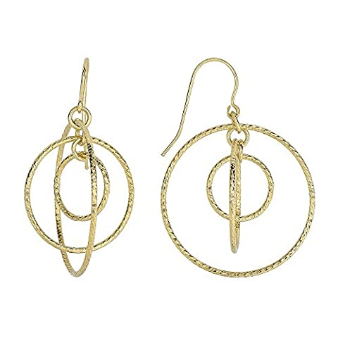 14ct Yellow Gold 26.5x38.0mm Shiny Diamond-cut 3 Graduated Open Circle Drop Earrings Euro Wire Clasp