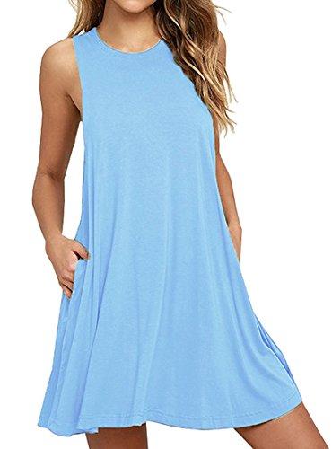 HAOMEILI Damen Langarm Stretch Casual Loose T-Shirt Kleid (L(EU 40), Hellblau)