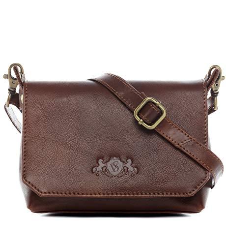 SID & VAIN Umhängetasche echt Leder KERBY klein Schultertasche Handtasche mit Schultergurt Ledertasche Unisex braun