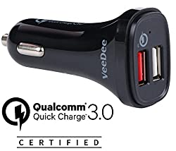VeeDee TM Quick Charge 3.0 42W Dual USB Car Charger, QCC01 for Samsung Galaxy S7 / S6 / Edge / Plus, Note 5 / 4 and iPhone 7 / 6s / Plus, iPad Pro / Air 2 / mini, LG, Nexus, HTC and More Qualcomm ® Certified