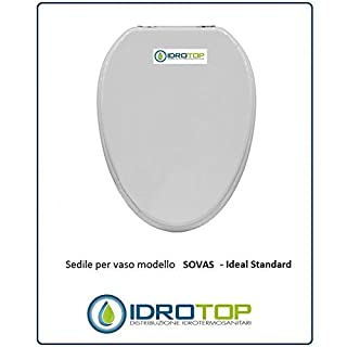 ACB/COLBAM Wooden Toilet Seat with Polyester Coating for Ideal Standard SOVAS White I.S. Soft-Close Toilet Seat with Soft-Close Hinge Chrome