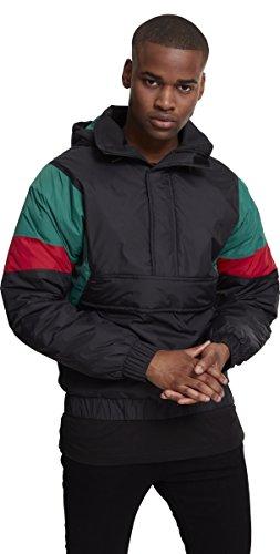 Urban Classics Herren Jacke 3 Tone Pull Over Jacket, Mehrfarbig (Black/Green/Fire Red 01225), Large