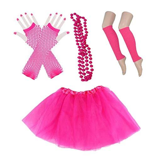 BESTOYARD Mädchen 80er Jahre Kostüm mit Tutu Beinwärmer Handschuhe Perlenkette für Ostern Hochzeit Geburtstag ()
