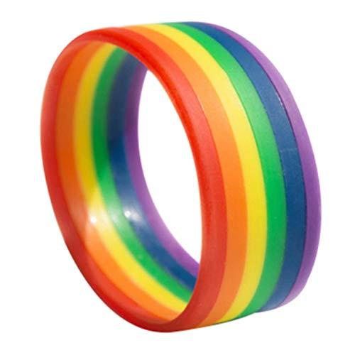 ife Essential 6-lagige Farbe Gay Gay Rainbow Color Armband Gay Blank Hand Ring Handgelenk Band für Geburtstag, Valentinstag, Jahrestag (Keine Schichtfarbe) ()