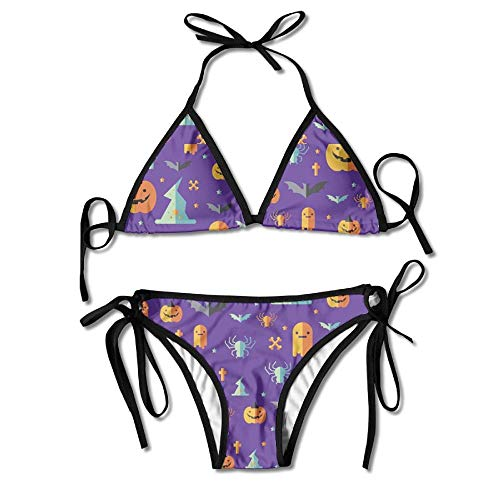 int Wrapper Design for Halloween Day Custom Sexy Beach Swimwear Women's Triangle Bralette Bikini Set of 2 ()
