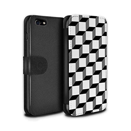 Stuff4 Coque/Etui/Housse Cuir PU Case/Cover pour Apple iPhone 8 / Tuiles Symétrie Design / Mode Noir Collection Cube 3D/Modèle