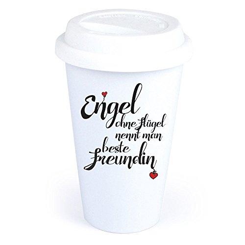 Coffee-to-Go-Becher mit Spruch 'Engel ohne Flügel nennt man beste Freundin' aus Keramik –...