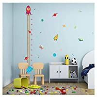 DIY Outer Space Planet Pilot Rocket Growth Chart Home Decor Height Measure Wall Stickers Kids Boy Room Baby Nursery muralX