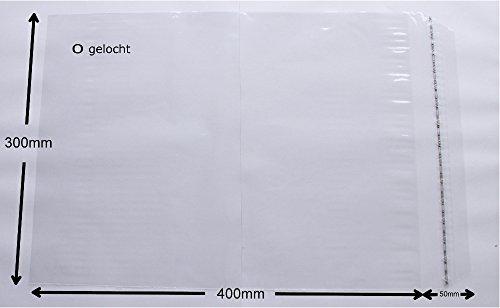 WeltiesSmartTools Klappenbeutel 10 Stück 40my 300x400 + 40 mm Klappe Adhäsionsverschlussbeutel - LDPE Beutel Transparent Wiederverschließbar Gelocht - Ideal für Kleidung T-Shirts Bilder Kataloge