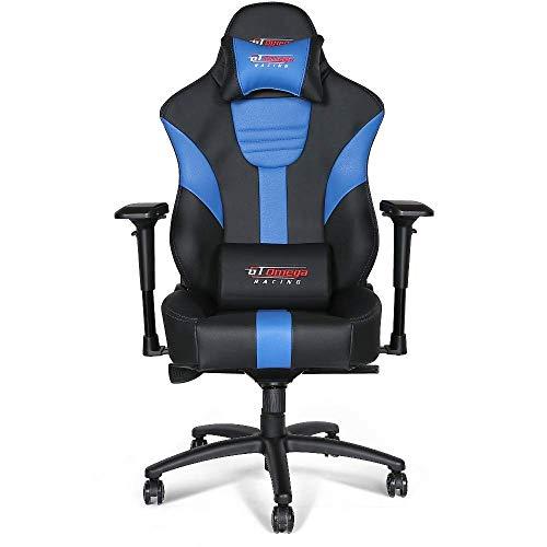 GT OMEGA Master XL Racing Gaming Stuhl mit Lendenwirbelstütze - Schwerlast Ergonomischer Bürostuhl mit 4D Verstellbarer Armlehne und Liege, PVC Leder Esport Sitz für Spielekonsole, Schwarz Next Blau
