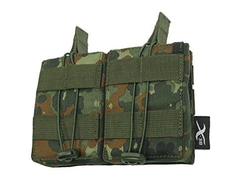 BE-X Offene Magazintasche für CQB, für MOLLE, für 2 G3 / M14 Magazine - flecktarn