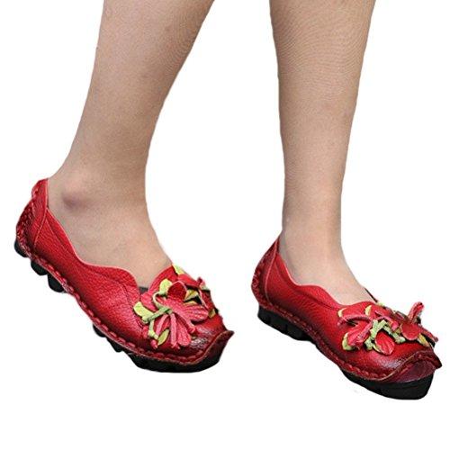 Vogstyle Femme Fleur en Cuir Slip-on style-1 rouge