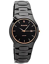 Accurist Gents Black Ceramic Case and Bracelet Watch Rose Gold detail MB992R
