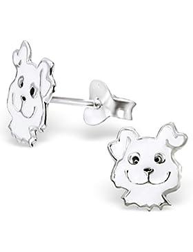 JAYARE Kinder-Ohrstecker Hunde 925 Sterling Silber Emaille 9 x 8 mm weiß Ohrringe