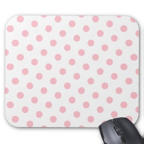 Rosa e Bianco a pois motivo rettangolo non-skip in gomma computer mouse pad ufficio Tappetino (Rettangolo Computer)