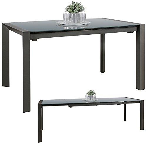 FineBuy Esszimmertisch NOAH 136-236 cm ausziehbar dunkelgrau Metall/Glas | Tisch für Esszimmer rechteckig | Küchentisch 6-10 Personen | Design Esstisch