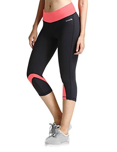 Baleaf Damen Sport 3/4 Hosen Yoga Workout Capri Legging Dubarry Größe M (Soft-capris Rosa)