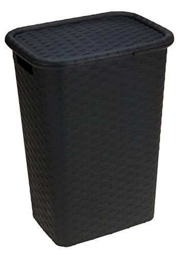 Spetebo Wäschebox in Flechtoptik 65 Liter - anthrazit - Wäschetruhe Wäschekorb