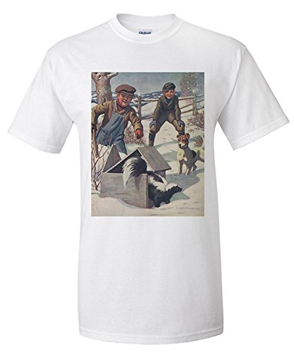 0768b4b78 National Sportsman - Boys with a Beagle Sniffing out a Skunk (Premium T- Shirt