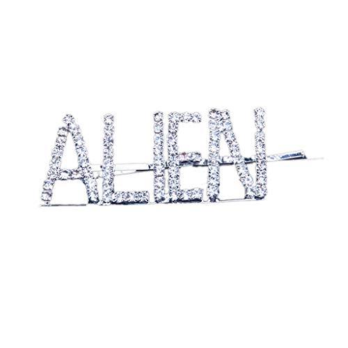 Haar Kostüm Alien - Yanhonin seitliche Haarklammern, minimalistisch, Strass, Haarnadeln, Legierung, Buchstaben-Metall Alien