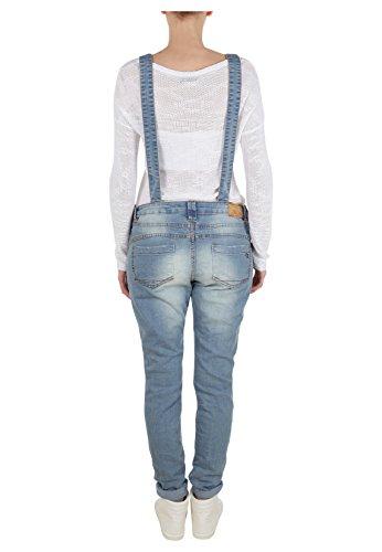 Fresh Made Damen Jeans-Latzhose | Denim Boyfriend-Cut im Stone Washed Look und Used-Look | Top Qualität dank hohem Baumwollanteil Blue